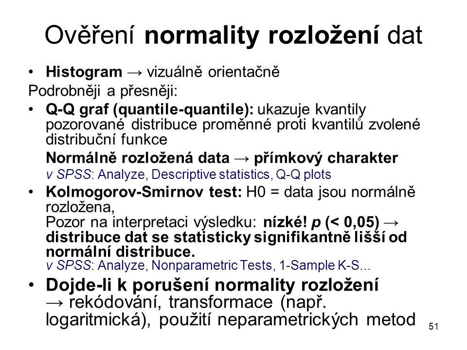 51 Ověření normality rozložení dat Histogram → vizuálně orientačně Podrobněji a přesněji: Q-Q graf (quantile-quantile): ukazuje kvantily pozorované di