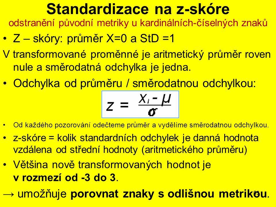 53 Standardizace na z-skóre odstranění původní metriky u kardinálních-číselných znaků Z – skóry: průměr X=0 a StD =1 V transformované proměnné je aritmetický průměr roven nule a směrodatná odchylka je jedna.