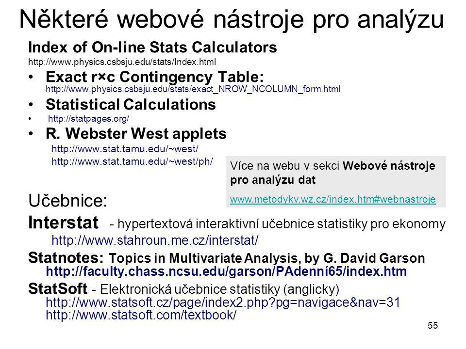 55 Některé webové nástroje pro analýzu Index of On-line Stats Calculators http://www.physics.csbsju.edu/stats/Index.html Exact r×c Contingency Table: http://www.physics.csbsju.edu/stats/exact_NROW_NCOLUMN_form.html Statistical Calculations http://statpages.org/ R.