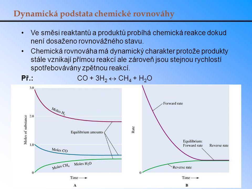 Dynamická podstata chemické rovnováhy Ve směsi reaktantů a produktů probíhá chemická reakce dokud není dosaženo rovnovážného stavu. Chemická rovnováha