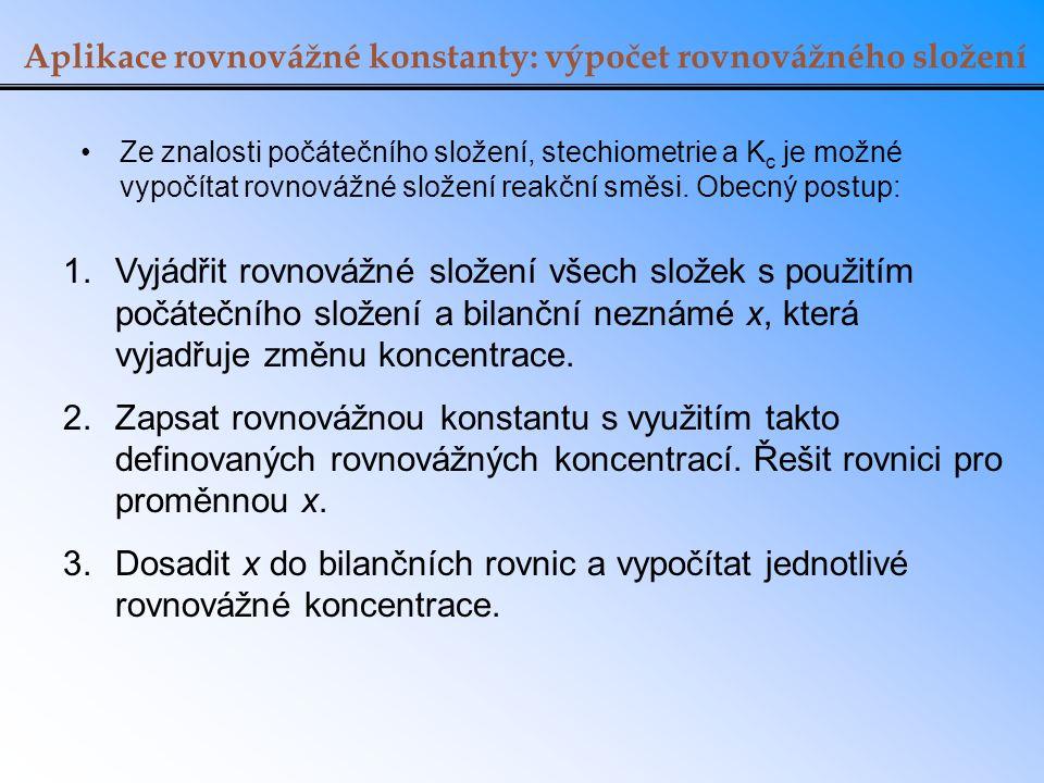 Aplikace rovnovážné konstanty: výpočet rovnovážného složení Ze znalosti počátečního složení, stechiometrie a K c je možné vypočítat rovnovážné složení