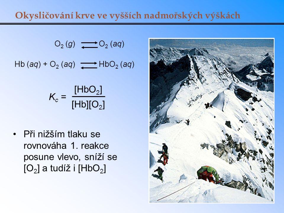 Okysličování krve ve vyšších nadmořských výškách K c = [HbO 2 ] [Hb][O 2 ] Hb (aq) + O 2 (aq) HbO 2 (aq) O 2 (g) O 2 (aq) Při nižším tlaku se rovnováh