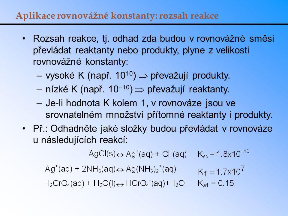 Aplikace rovnovážné konstanty: rozsah reakce Rozsah reakce, tj. odhad zda budou v rovnovážné směsi převládat reaktanty nebo produkty, plyne z velikost