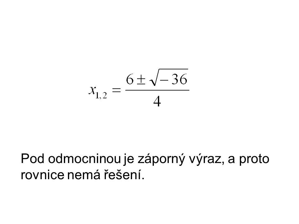 Pod odmocninou je záporný výraz, a proto rovnice nemá řešení.