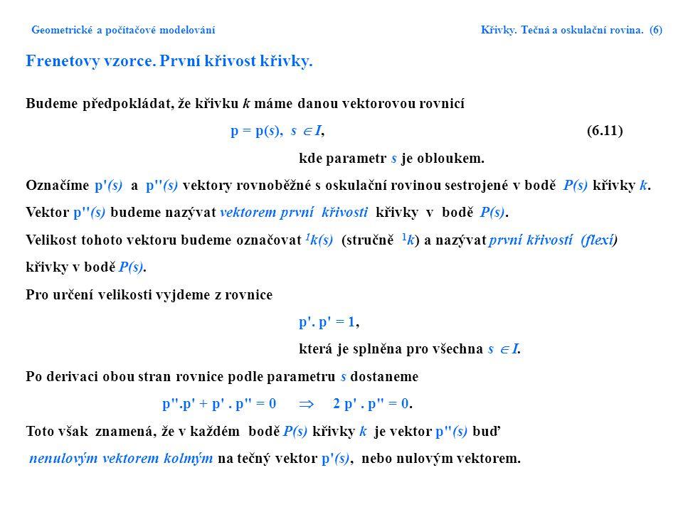 Geometrické a počítačové modelování Křivky. Tečná a oskulační rovina. (6) Frenetovy vzorce. První křivost křivky. Budeme předpokládat, že křivku k mám