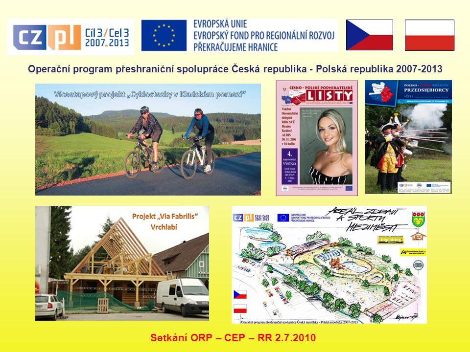 Operační program přeshraniční spolupráce Česká republika - Polská republika 2007-2013 Setkání ORP – CEP – RR 2.7.2010