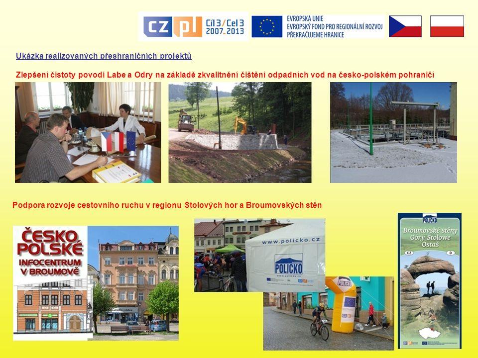 Ukázka realizovaných přeshraničních projektů Podpora rozvoje cestovního ruchu v regionu Stolových hor a Broumovských stěn Zlepšení čistoty povodí Labe