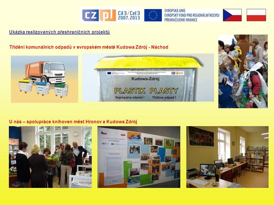 Ukázka realizovaných přeshraničních projektů U nás – spolupráce knihoven měst Hronov a Kudowa Zdrój Třídění komunálních odpadů v evropském městě Kudow