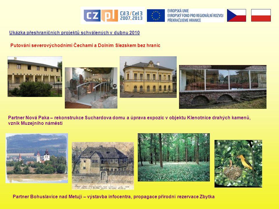 Ukázka přeshraničních projektů schválených v dubnu 2010 Partner Bohuslavice nad Metují – výstavba infocentra, propagace přírodní rezervace Zbytka Puto