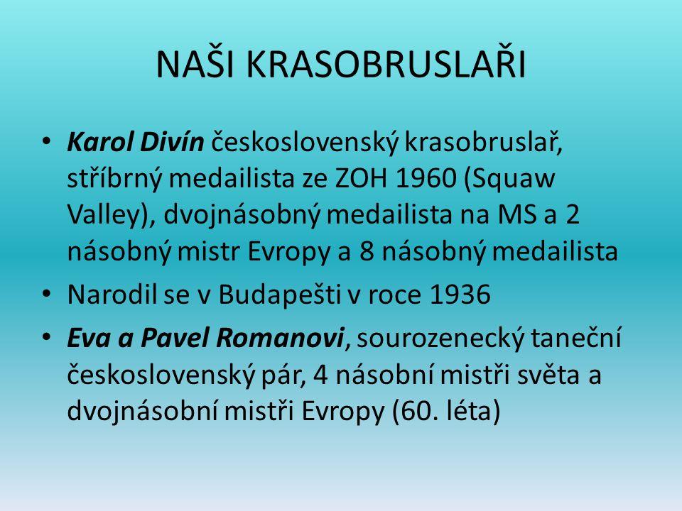 NAŠI KRASOBRUSLAŘI Karol Divín československý krasobruslař, stříbrný medailista ze ZOH 1960 (Squaw Valley), dvojnásobný medailista na MS a 2 násobný m