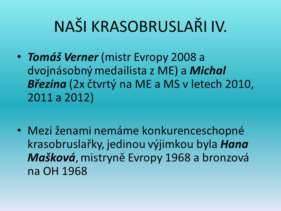 NAŠI KRASOBRUSLAŘI IV. Tomáš Verner (mistr Evropy 2008 a dvojnásobný medailista z ME) a Michal Březina (2x čtvrtý na ME a MS v letech 2010, 2011 a 201