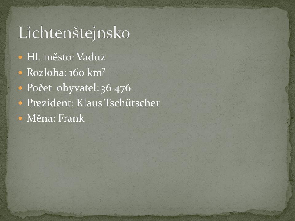 Hl. město: Vaduz Rozloha: 160 km² Počet obyvatel: 36 476 Prezident: Klaus Tschütscher Měna: Frank
