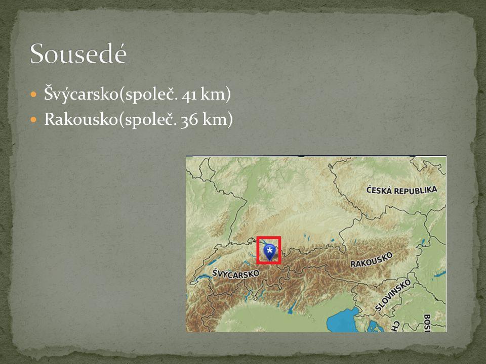 Švýcarsko(společ. 41 km) Rakousko(společ. 36 km)