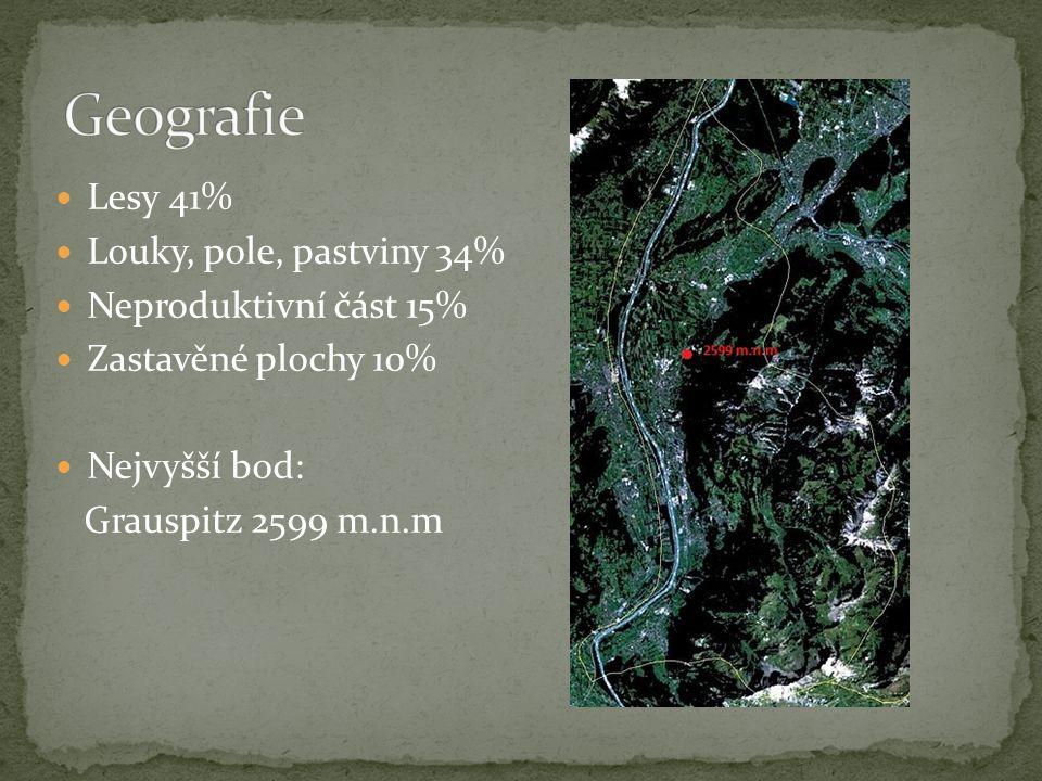Lesy 41% Louky, pole, pastviny 34% Neproduktivní část 15% Zastavěné plochy 10% Nejvyšší bod: Grauspitz 2599 m.n.m