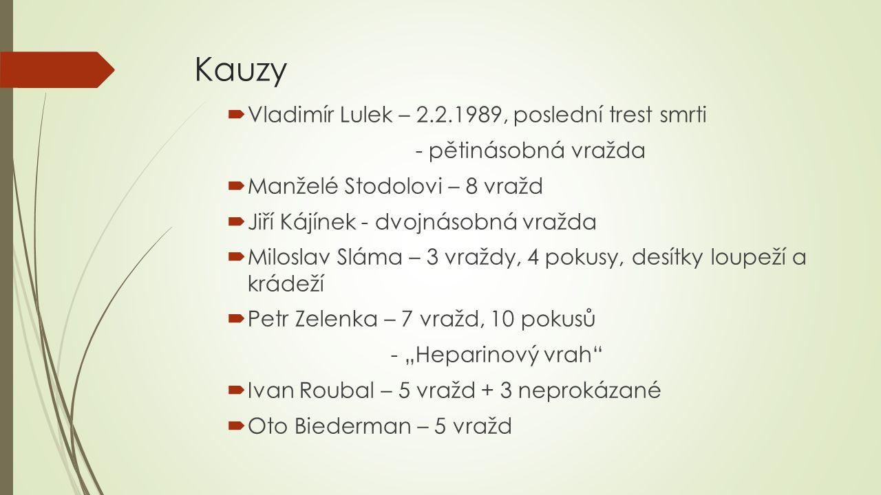 """Kauzy  Vladimír Lulek – 2.2.1989, poslední trest smrti - pětinásobná vražda  Manželé Stodolovi – 8 vražd  Jiří Kájínek - dvojnásobná vražda  Miloslav Sláma – 3 vraždy, 4 pokusy, desítky loupeží a krádeží  Petr Zelenka – 7 vražd, 10 pokusů - """"Heparinový vrah  Ivan Roubal – 5 vražd + 3 neprokázané  Oto Biederman – 5 vražd"""