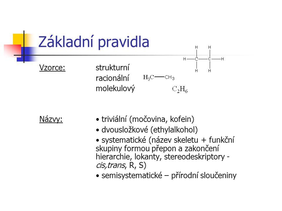 Základní pravidla Vzorce: strukturní racionální molekulový Názvy: triviální (močovina, kofein) dvousložkové (ethylalkohol) systematické (název skeletu