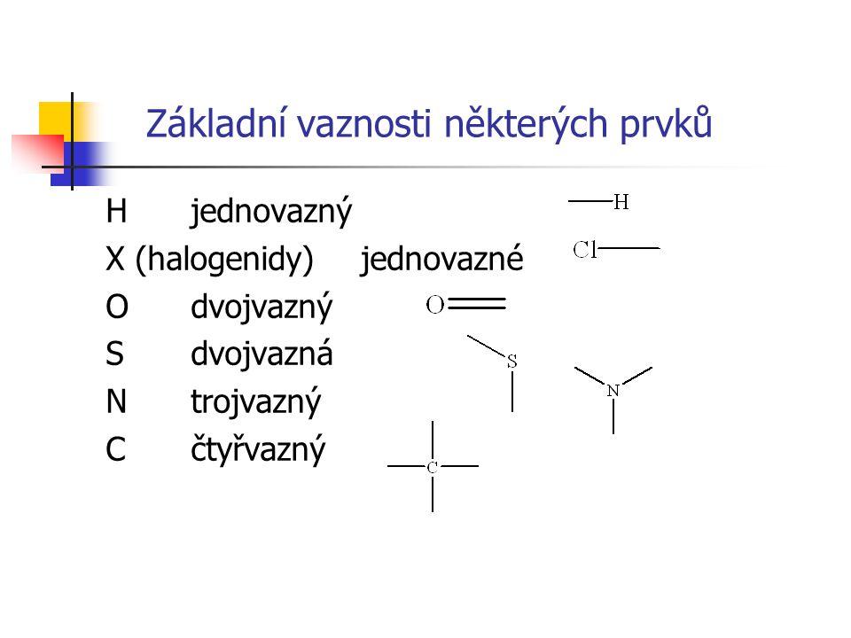 Základní vaznosti některých prvků Hjednovazný X (halogenidy)jednovazné Odvojvazný Sdvojvazná Ntrojvazný C čtyřvazný