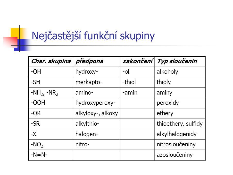 Nejčastější funkční skupiny Char. skupinapředponazakončeníTyp sloučenin -OHhydroxy--olalkoholy -SHmerkapto--thiolthioly -NH 2, -NR 2 amino--aminaminy