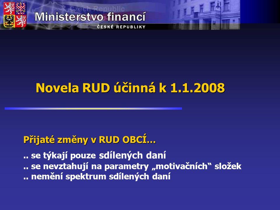 Novela RUD účinná k 1.1.2008.. se týkají pouze sdílených daní..