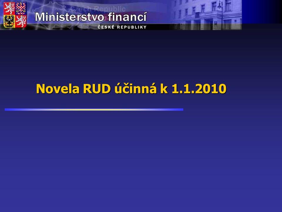 Orientační harmonogram přípravy nového zákona o RUD od 10/2007 02/200802-12/200801-04/200905-12/2009 od 01/2010 Spolupráce relevantních subjektů (příprava novely RUD resp.