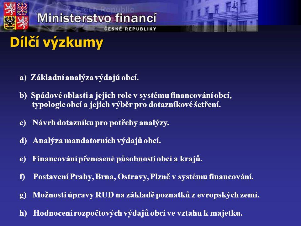 Dílčí výzkumy a) Základní analýza výdajů obcí.