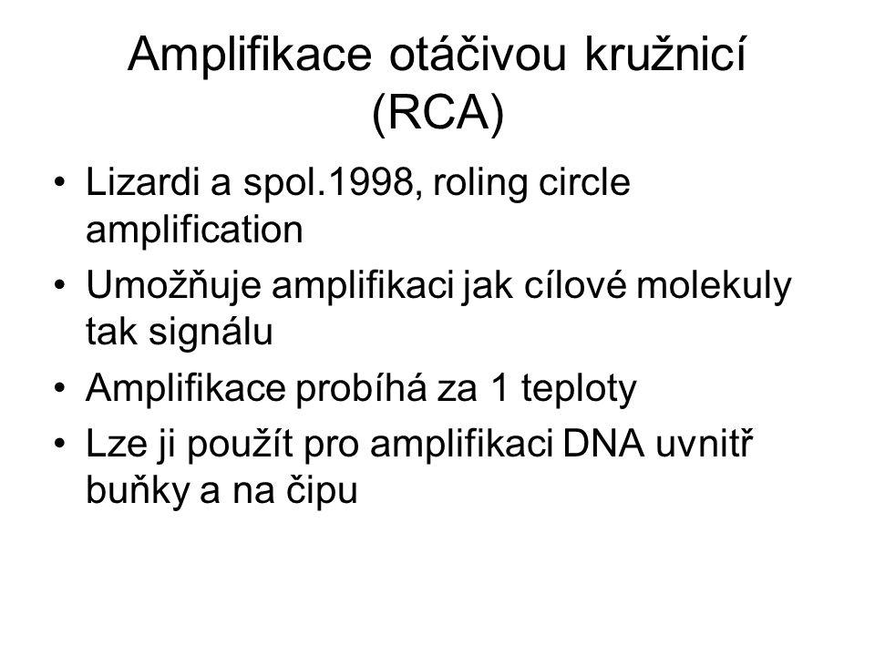 Amplifikace otáčivou kružnicí (RCA) Lizardi a spol.1998, roling circle amplification Umožňuje amplifikaci jak cílové molekuly tak signálu Amplifikace