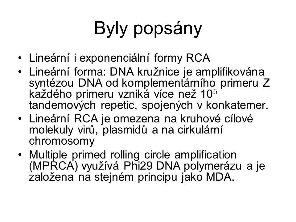 Byly popsány Lineární i exponenciální formy RCA Lineární forma: DNA kružnice je amplifikována syntézou DNA od komplementárního primeru Z každého prime