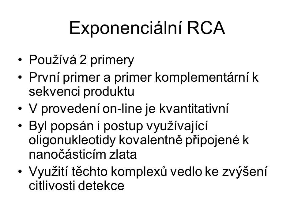 Exponenciální RCA Používá 2 primery První primer a primer komplementární k sekvenci produktu V provedení on-line je kvantitativní Byl popsán i postup