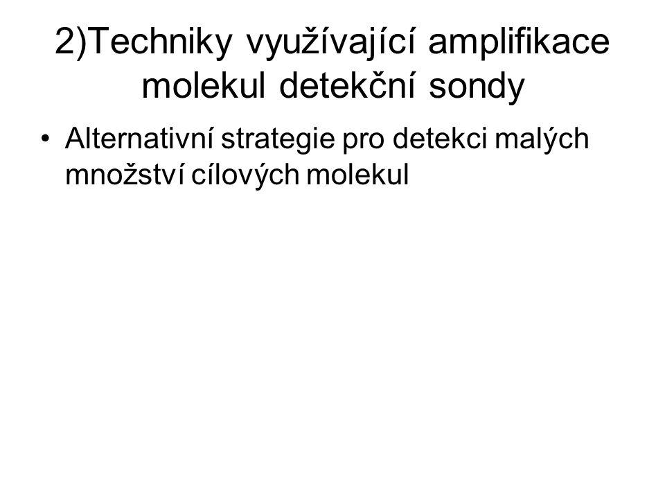 2)Techniky využívající amplifikace molekul detekční sondy Alternativní strategie pro detekci malých množství cílových molekul