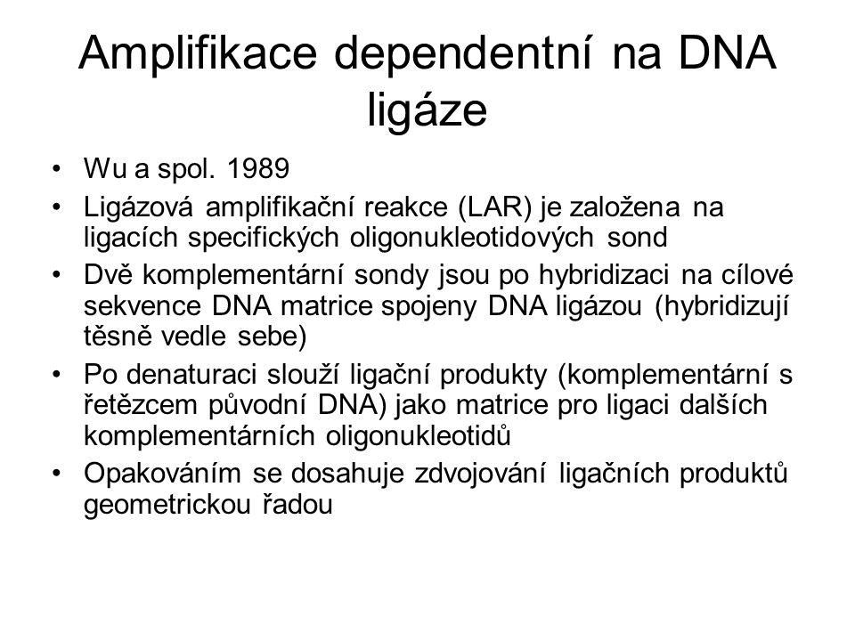 Amplifikace dependentní na DNA ligáze Wu a spol. 1989 Ligázová amplifikační reakce (LAR) je založena na ligacích specifických oligonukleotidových sond