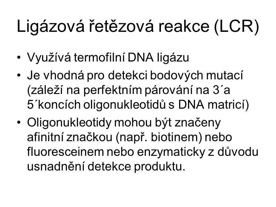 Ligázová řetězová reakce (LCR) Využívá termofilní DNA ligázu Je vhodná pro detekci bodových mutací (záleží na perfektním párování na 3´a 5´koncích oli
