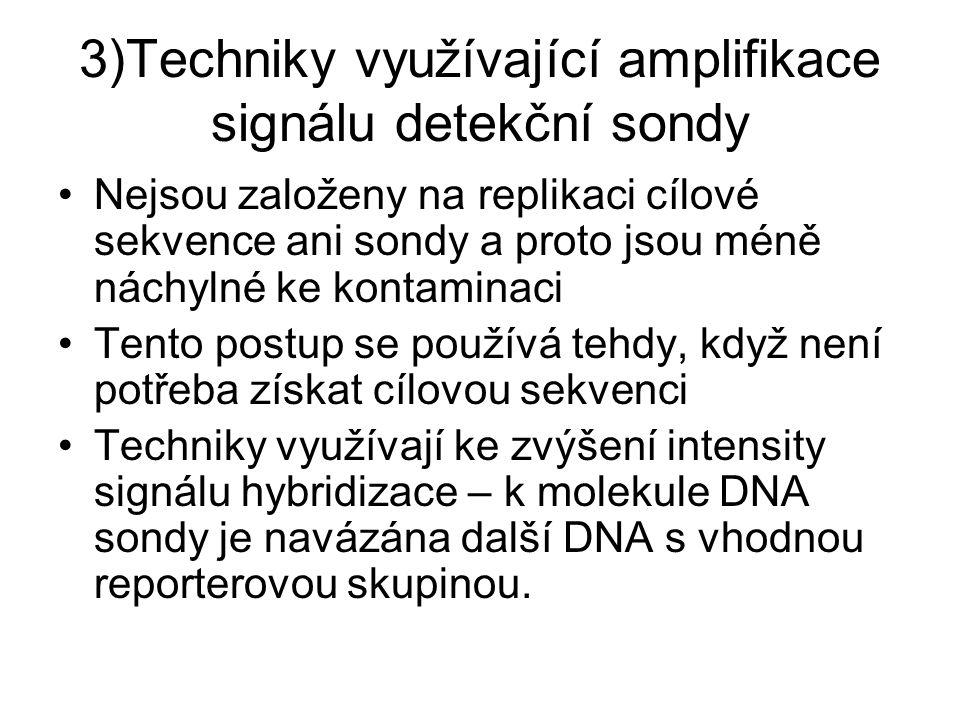 3)Techniky využívající amplifikace signálu detekční sondy Nejsou založeny na replikaci cílové sekvence ani sondy a proto jsou méně náchylné ke kontami