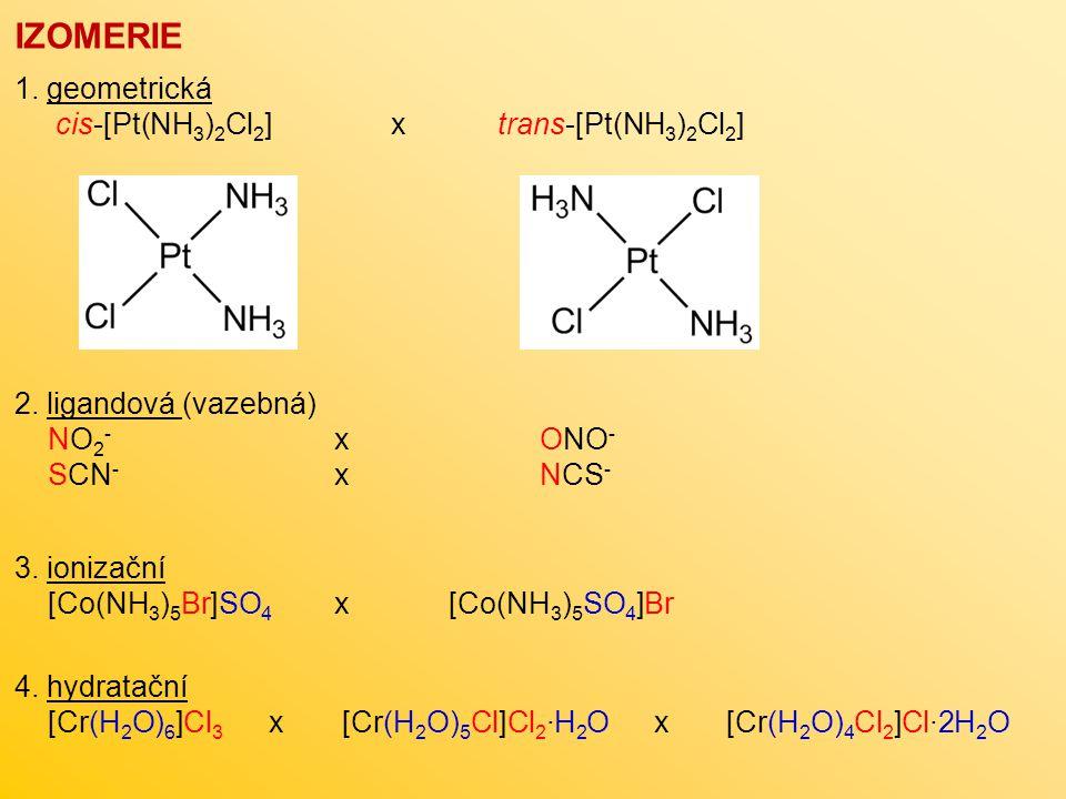 IZOMERIE 1. geometrická cis-[Pt(NH 3 ) 2 Cl 2 ] x trans-[Pt(NH 3 ) 2 Cl 2 ] 2. ligandová (vazebná) NO 2 - x ONO - SCN - x NCS - 3. ionizační [Co(NH 3