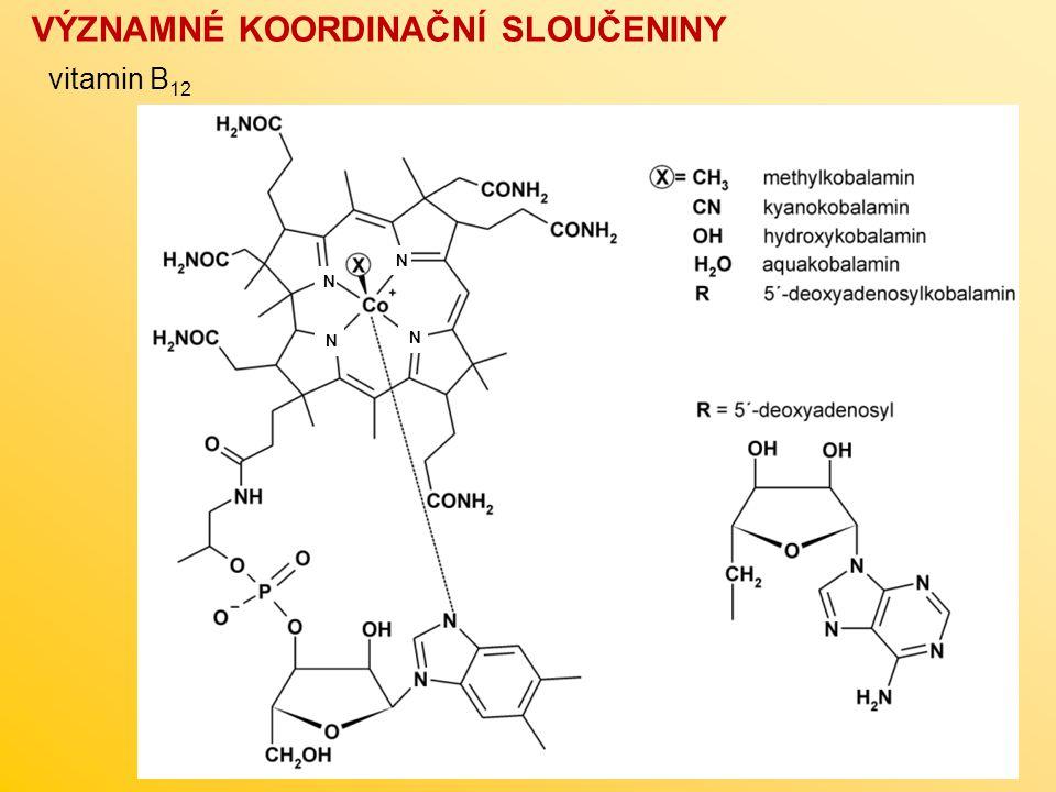 VÝZNAMNÉ KOORDINAČNÍ SLOUČENINY vitamin B 12 N N N N