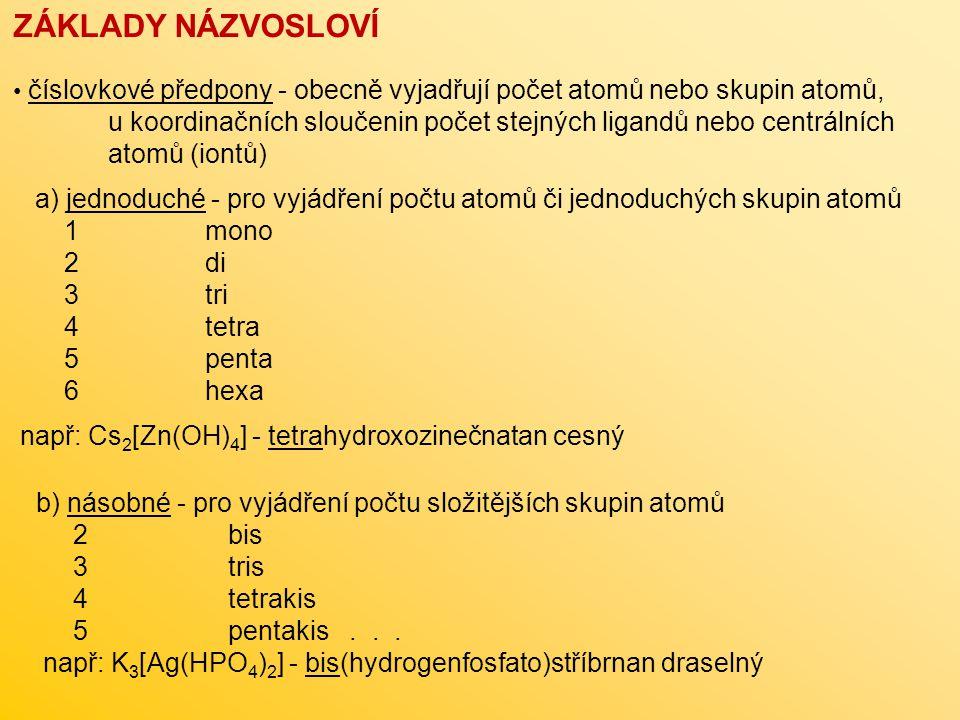 ZÁKLADY NÁZVOSLOVÍ číslovkové předpony - obecně vyjadřují počet atomů nebo skupin atomů, u koordinačních sloučenin počet stejných ligandů nebo centrál
