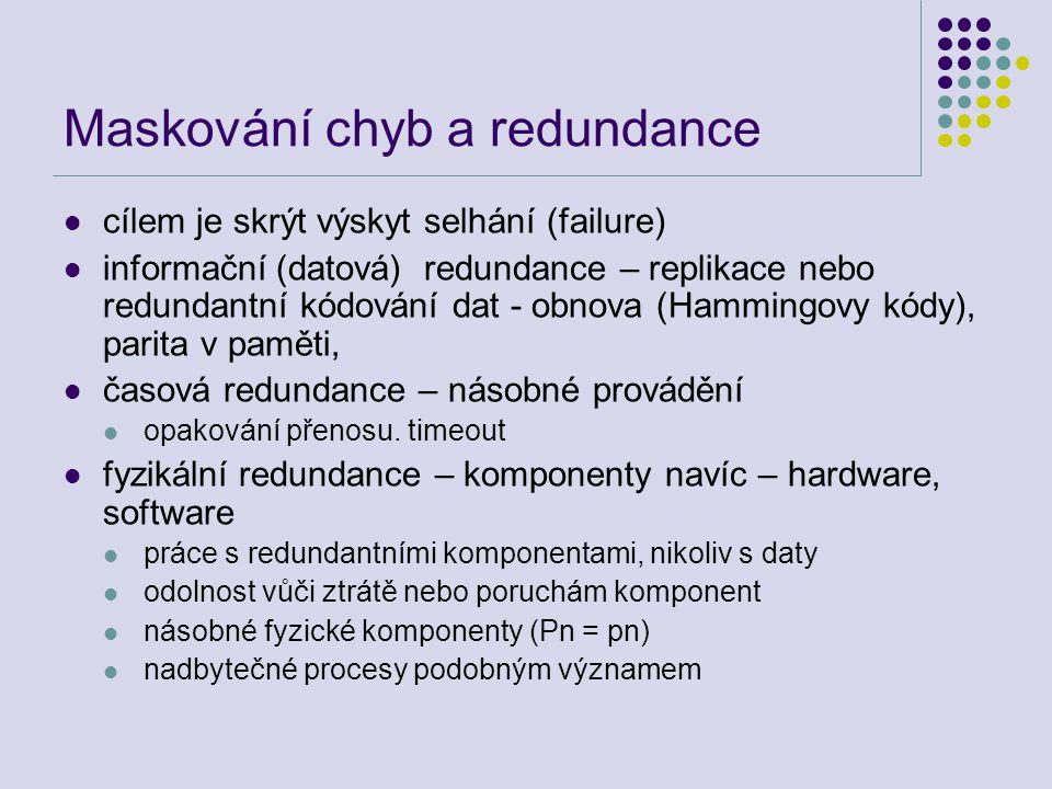 Maskování chyb a redundance cílem je skrýt výskyt selhání (failure) informační (datová) redundance – replikace nebo redundantní kódování dat - obnova (Hammingovy kódy), parita v paměti, časová redundance – násobné provádění opakování přenosu.