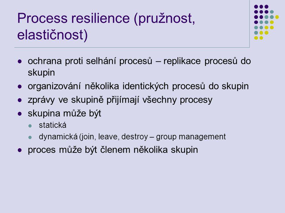 Process resilience (pružnost, elastičnost) ochrana proti selhání procesů – replikace procesů do skupin organizování několika identických procesů do skupin zprávy ve skupině přijímají všechny procesy skupina může být statická dynamická (join, leave, destroy – group management proces může být členem několika skupin