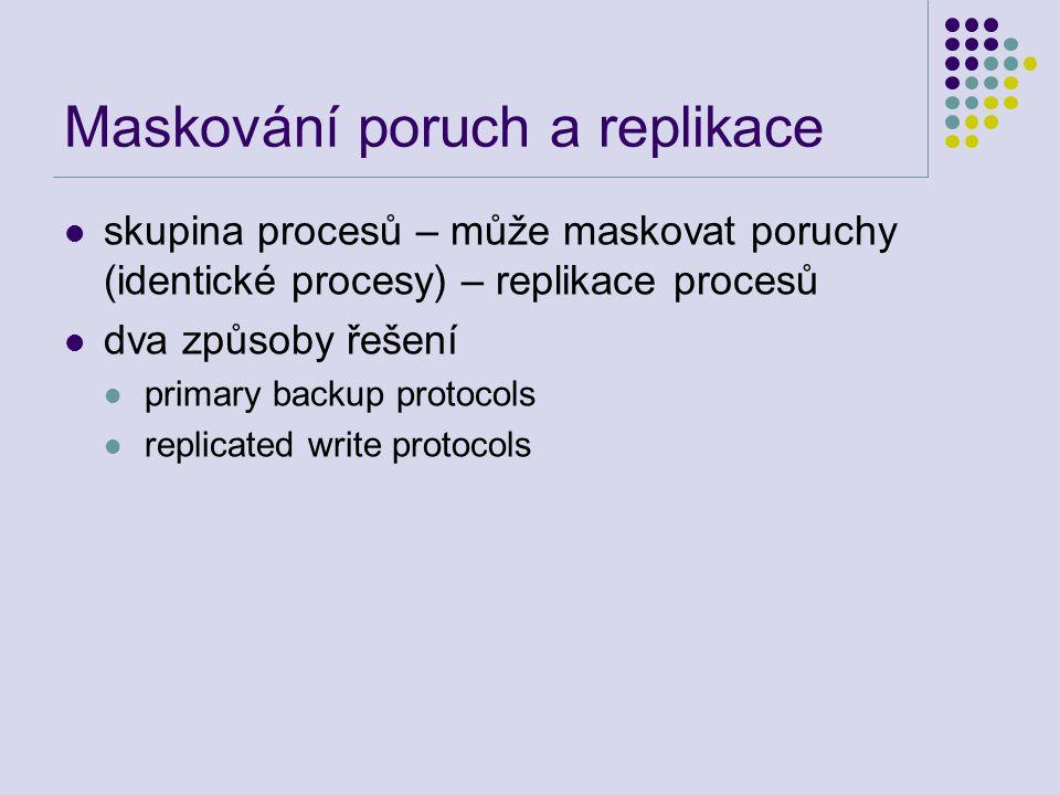 Maskování poruch a replikace skupina procesů – může maskovat poruchy (identické procesy) – replikace procesů dva způsoby řešení primary backup protocols replicated write protocols