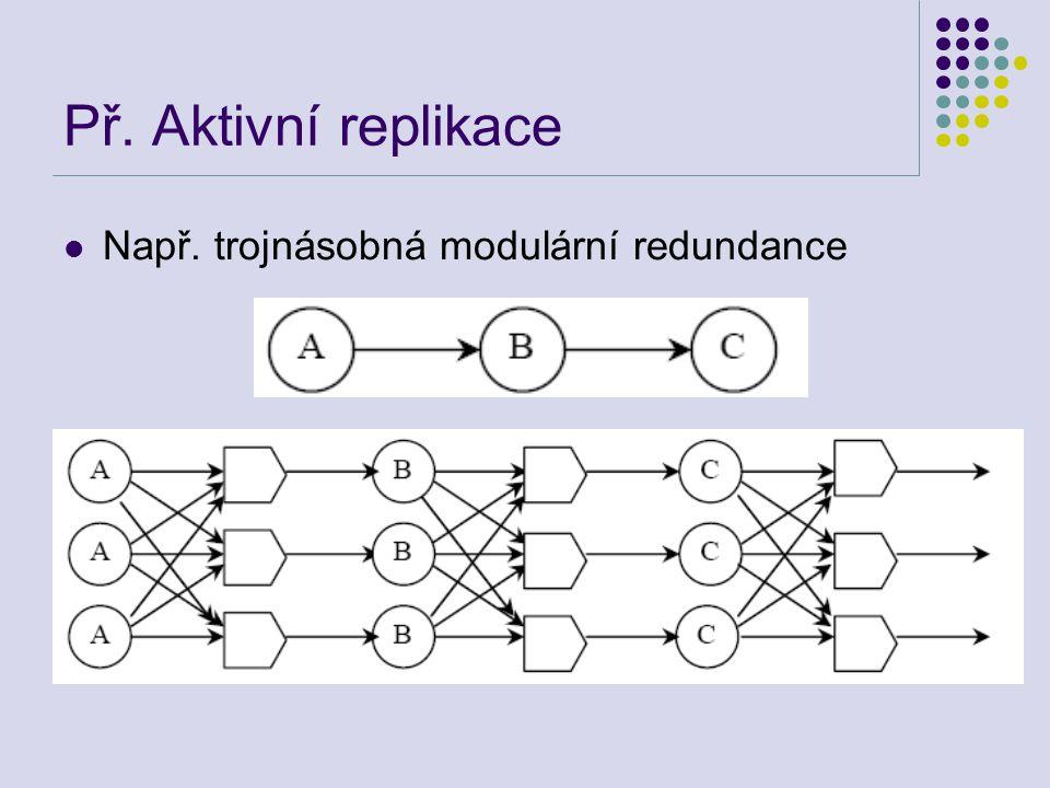 Př. Aktivní replikace Např. trojnásobná modulární redundance