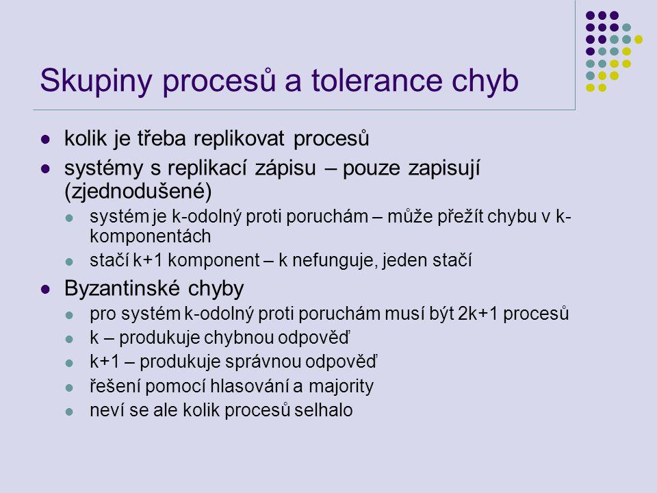 Skupiny procesů a tolerance chyb kolik je třeba replikovat procesů systémy s replikací zápisu – pouze zapisují (zjednodušené) systém je k-odolný proti poruchám – může přežít chybu v k- komponentách stačí k+1 komponent – k nefunguje, jeden stačí Byzantinské chyby pro systém k-odolný proti poruchám musí být 2k+1 procesů k – produkuje chybnou odpověď k+1 – produkuje správnou odpověď řešení pomocí hlasování a majority neví se ale kolik procesů selhalo