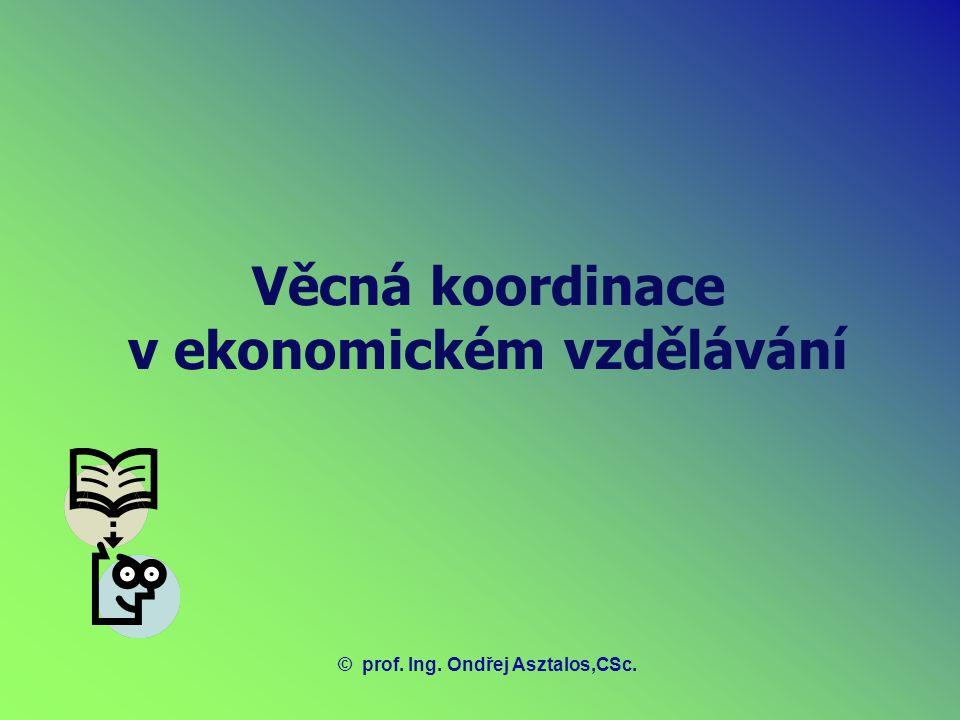 Věcná koordinace v ekonomickém vzdělávání ©prof. Ing. Ondřej Asztalos,CSc.