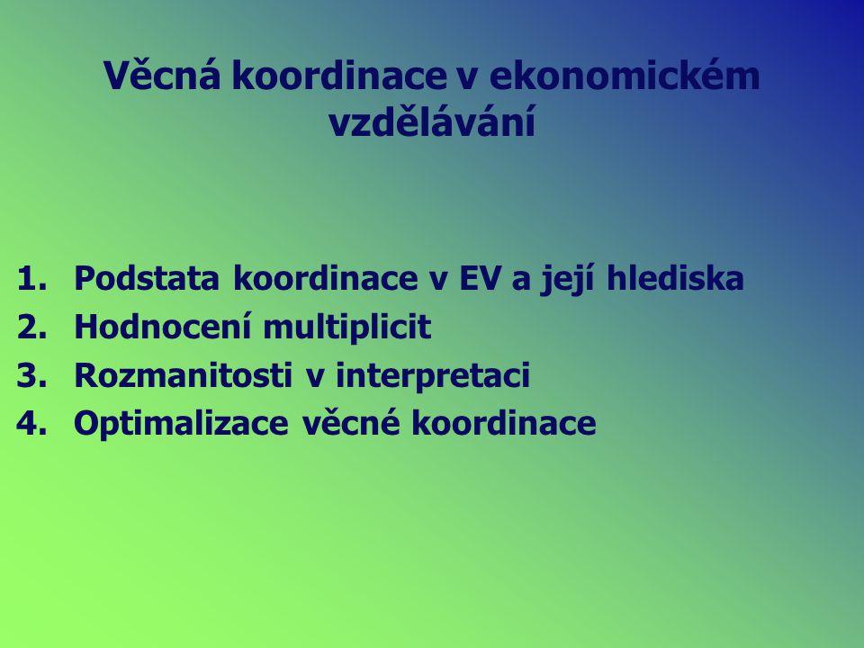 Věcná koordinace v ekonomickém vzdělávání 1.Podstata koordinace v EV a její hlediska 2.Hodnocení multiplicit 3.Rozmanitosti v interpretaci 4.Optimalizace věcné koordinace