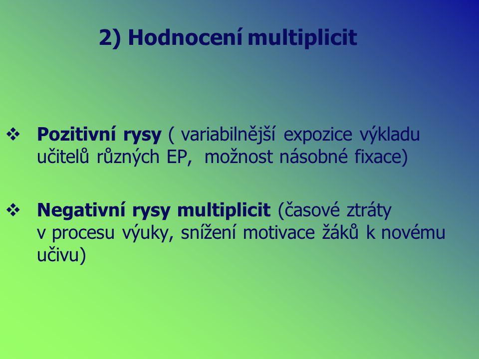 2) Hodnocení multiplicit  Pozitivní rysy ( variabilnější expozice výkladu učitelů různých EP, možnost násobné fixace)  Negativní rysy multiplicit (časové ztráty v procesu výuky, snížení motivace žáků k novému učivu)