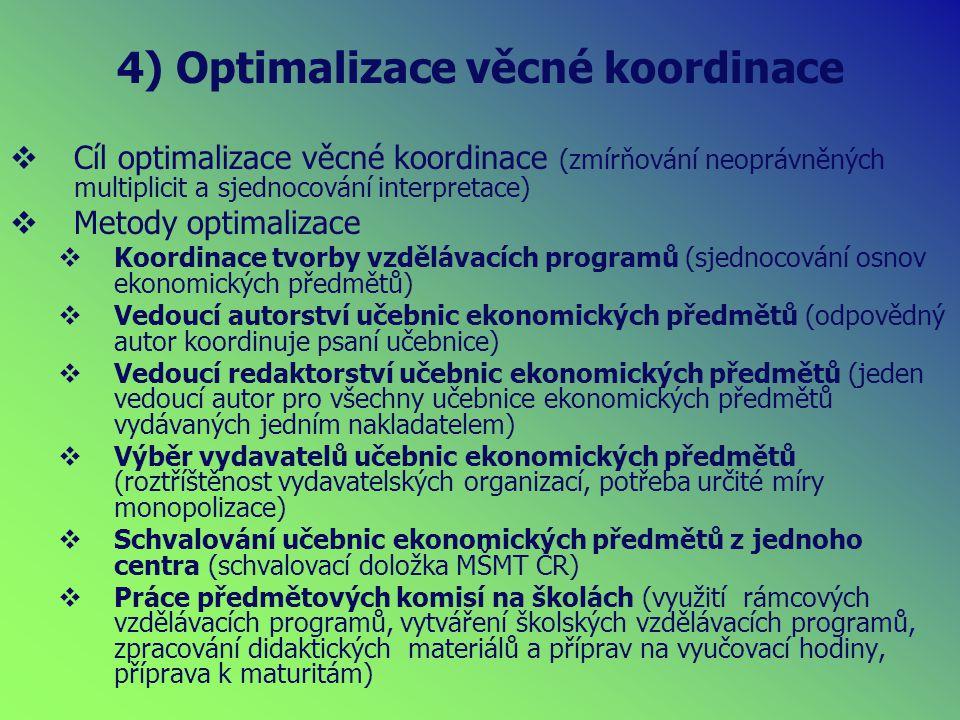 4) Optimalizace věcné koordinace  Cíl optimalizace věcné koordinace (zmírňování neoprávněných multiplicit a sjednocování interpretace)  Metody optimalizace  Koordinace tvorby vzdělávacích programů (sjednocování osnov ekonomických předmětů)  Vedoucí autorství učebnic ekonomických předmětů (odpovědný autor koordinuje psaní učebnice)  Vedoucí redaktorství učebnic ekonomických předmětů (jeden vedoucí autor pro všechny učebnice ekonomických předmětů vydávaných jedním nakladatelem)  Výběr vydavatelů učebnic ekonomických předmětů (roztříštěnost vydavatelských organizací, potřeba určité míry monopolizace)  Schvalování učebnic ekonomických předmětů z jednoho centra (schvalovací doložka MŠMT ČR)  Práce předmětových komisí na školách (využití rámcových vzdělávacích programů, vytváření školských vzdělávacích programů, zpracování didaktických materiálů a příprav na vyučovací hodiny, příprava k maturitám)