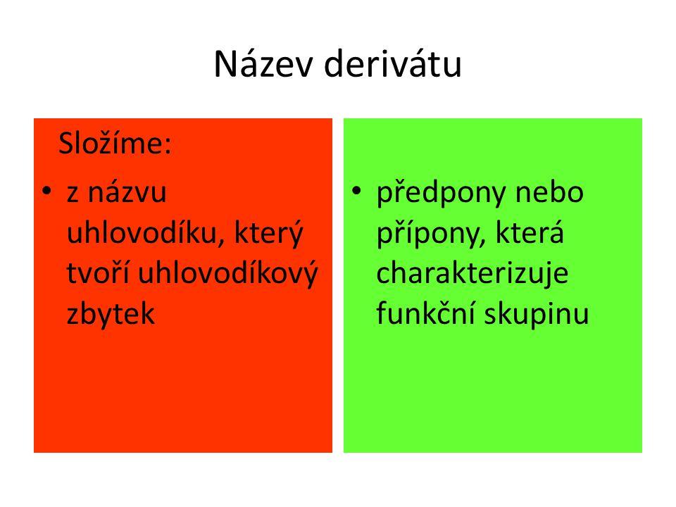 Název derivátu Složíme: z názvu uhlovodíku, který tvoří uhlovodíkový zbytek předpony nebo přípony, která charakterizuje funkční skupinu
