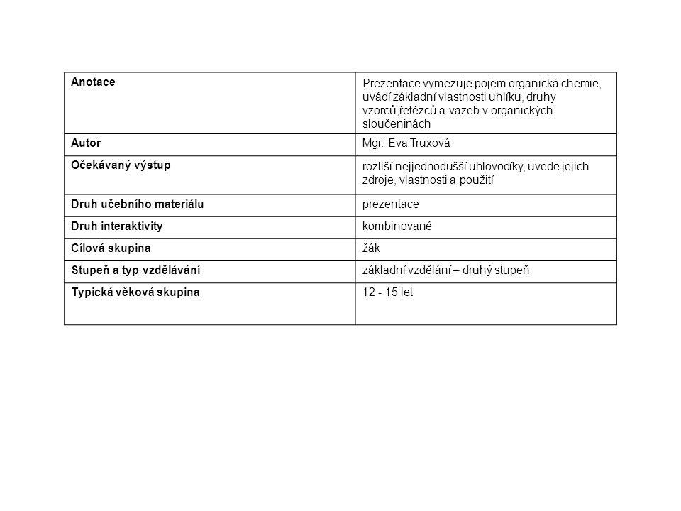 AnotacePrezentace vymezuje pojem organická chemie, uvádí základní vlastnosti uhlíku, druhy vzorců,řetězců a vazeb v organických sloučeninách AutorMgr.