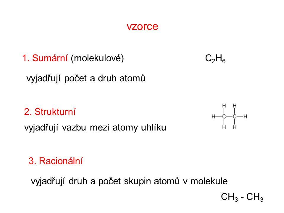 vzorce 1. Sumární (molekulové) C2H6 C2H6 vyjadřují počet a druh atomů 2.