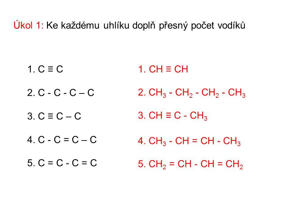Úkol 2: Doplň vazby mezi atomy uhlíku CH 3 CH C CH 3 CH 3 CH CH CH 3 CH 2 CH 3 - CH 3 CH ≡ C - CH 3 CH 3 - CH = CH - CH 3 CH 2 = CH 2