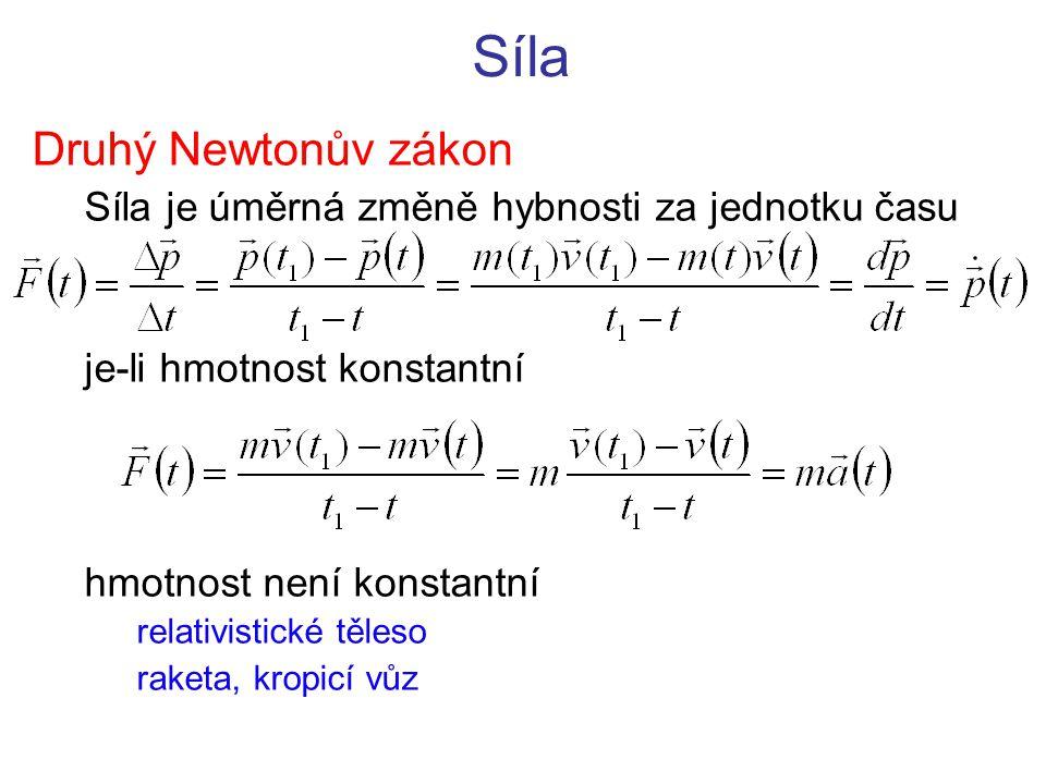 Síla Druhý Newtonův zákon Síla je úměrná změně hybnosti za jednotku času je-li hmotnost konstantní hmotnost není konstantní relativistické těleso rake