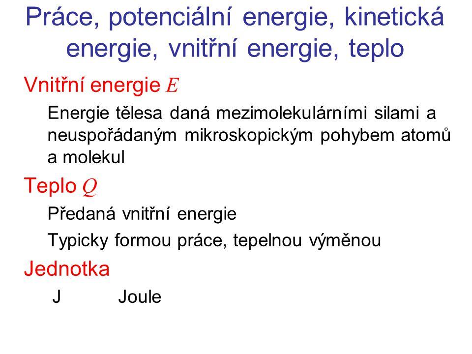 Práce, potenciální energie, kinetická energie, vnitřní energie, teplo Vnitřní energie E Energie tělesa daná mezimolekulárními silami a neuspořádaným m